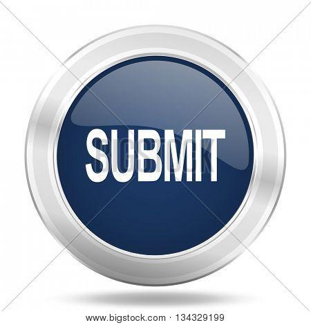submit icon, dark blue round metallic internet button, web and mobile app illustration