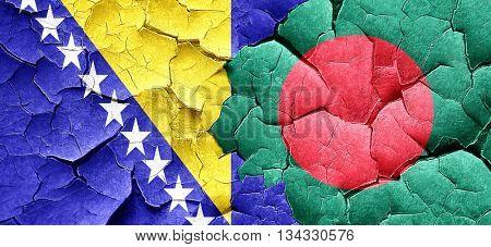 Bosnia and Herzegovina flag with Bangladesh flag on a grunge cra poster