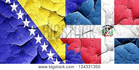 Bosnia and Herzegovina flag with Dominican Republic flag on a gr