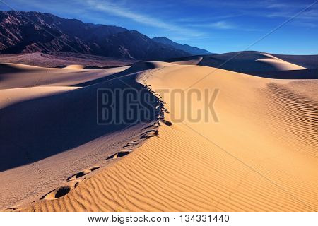 Sandy Desert in Mesquite Flat, Death Valley, USA. Along the edge of the sand dunes is a chain of deep tracks