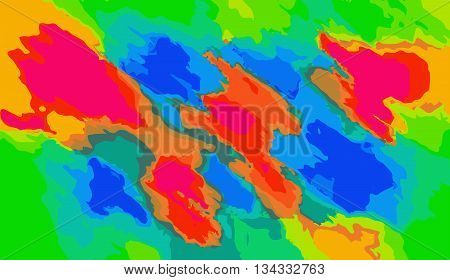 blue red orange and green painting abstract background