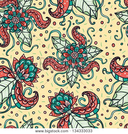 Fictional flowers with tentacles light seamless pattern.