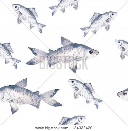 Watercolor seamless pattern with hand drawn fish