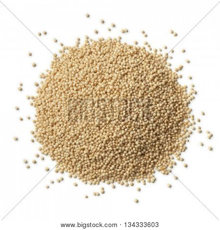 Heap of raw amaranth seeds on white background