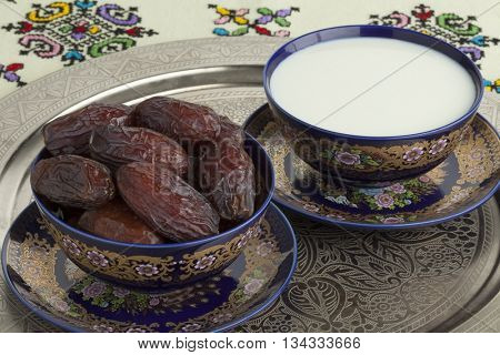 Festive Moroccan bowls with milk and dates