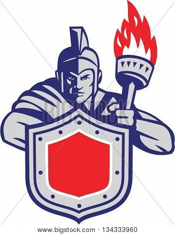 Illustration of a greek warrior holding torch and shield facing front set on isolated white background done in retro style.
