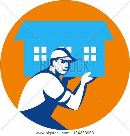 Illustration of a house remover carrying house on shoulder viewed from the side set inside circle done in retro style.