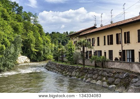Along the bicycle path of the Lambro river in Brianza (Lombardy Italy) at spring: old house