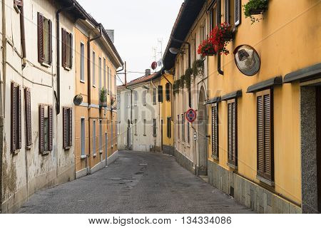 A typical street of Carate Brianza (Monza Lombardy Italy) with old houses