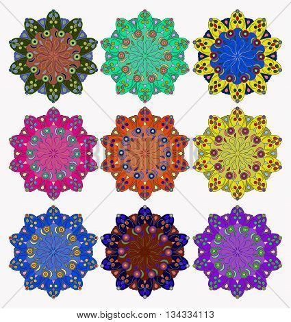 Set of mandalas, symbolizing the harmony of the world