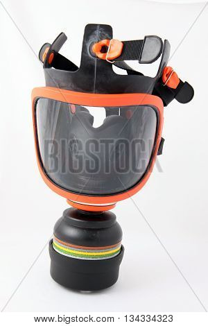 A gas mask shot on a white background.