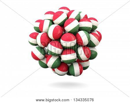 Pile Of Footballs With Flag Of Hungary