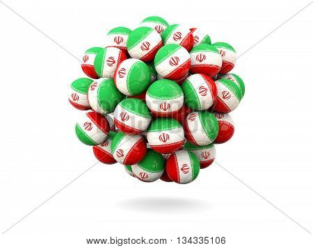 Pile Of Footballs With Flag Of Iran