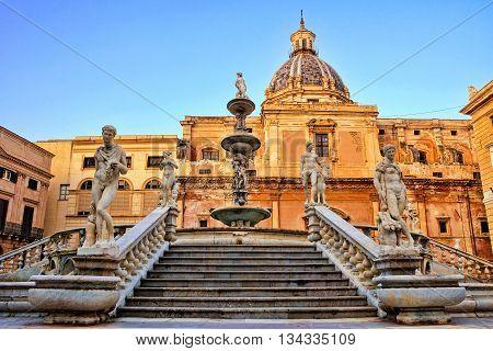 Beautiful Fontana Pretoria Of Palermo, Sicily At Dusk