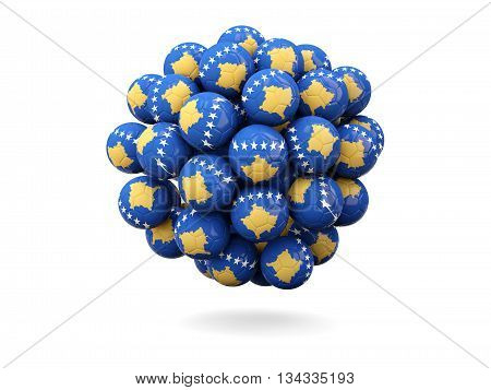 Pile Of Footballs With Flag Of Kosovo
