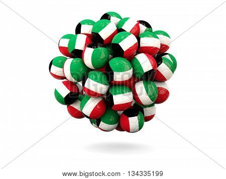 Pile Of Footballs With Flag Of Kuwait