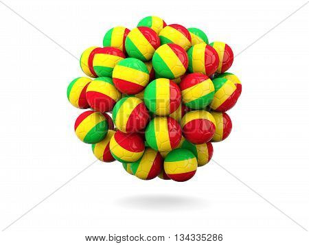 Pile Of Footballs With Flag Of Mali