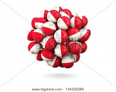 Pile Of Footballs With Flag Of Malta