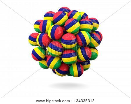 Pile Of Footballs With Flag Of Mauritius