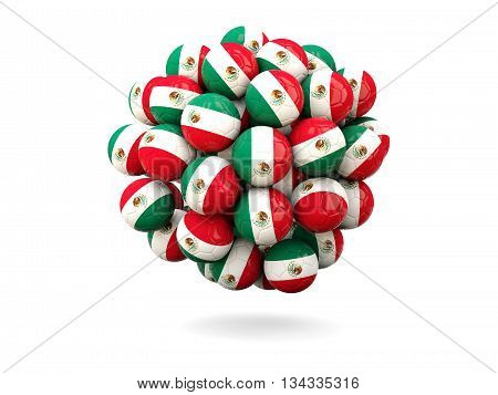 Pile Of Footballs With Flag Of Mexico