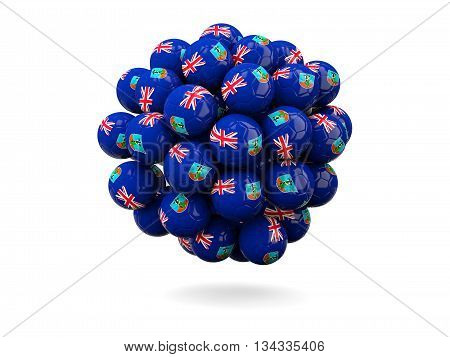 Pile Of Footballs With Flag Of Montserrat