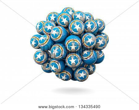 Pile Of Footballs With Flag Of Northern Mariana Islands