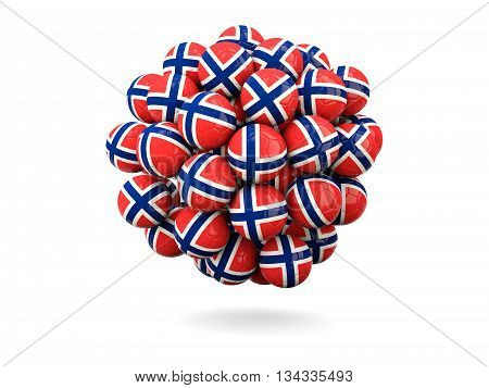 Pile Of Footballs With Flag Of Norway