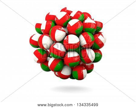 Pile Of Footballs With Flag Of Oman