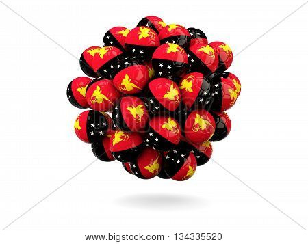 Pile Of Footballs With Flag Of Papua New Guinea