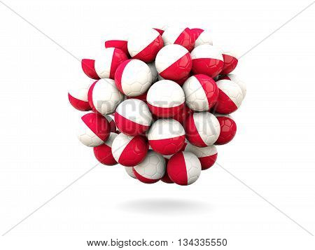 Pile Of Footballs With Flag Of Poland