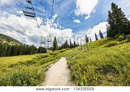 Ski Lift in Alpine Meadows in Albion Basin, Utah during summer