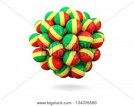 Pile Of Footballs With Flag Of Republic Of The Congo