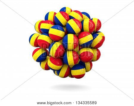 Pile Of Footballs With Flag Of Romania