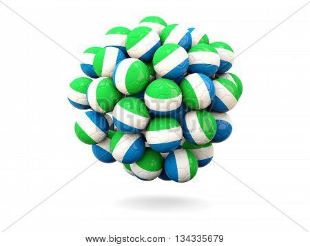 Pile Of Footballs With Flag Of Sierra Leone