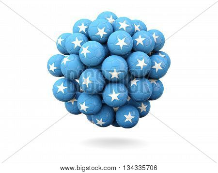 Pile Of Footballs With Flag Of Somalia
