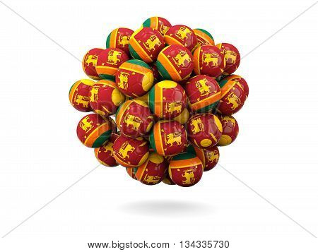 Pile Of Footballs With Flag Of Sri Lanka