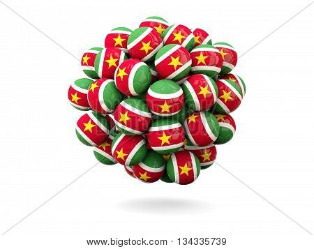 Pile Of Footballs With Flag Of Suriname