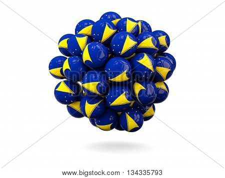 Pile Of Footballs With Flag Of Tokelau