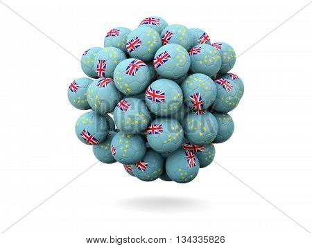Pile Of Footballs With Flag Of Tuvalu