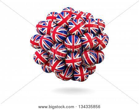 Pile Of Footballs With Flag Of United Kingdom