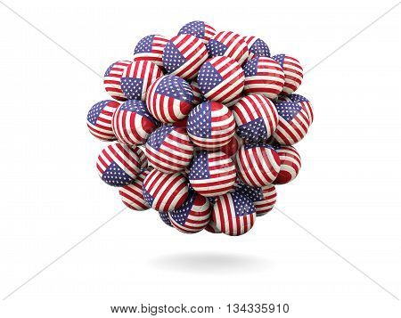 Pile Of Footballs With Flag Of United States Of America