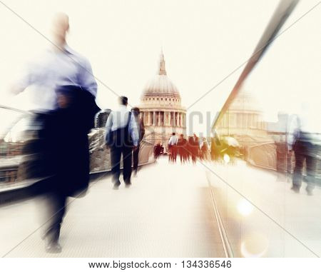 People Rushing in London Concept