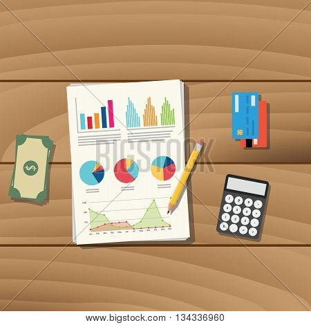 accounting business paper document work with pancil credit card money and calculator vector graphic illustration