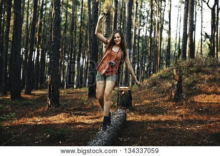 Camping Woman Fun Leisure Holiday Concept