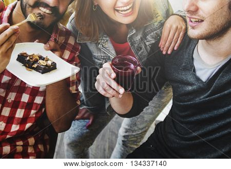 Friendship Eating Smiling Happiness Sweets Concept