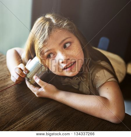 Adorable Girl Fun Curiosity Concept