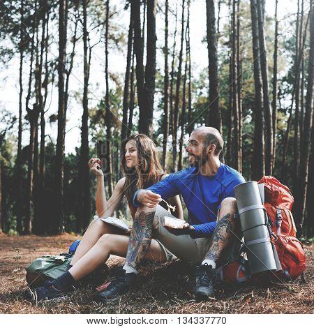 Adventure Backpacker Camping Traveler Trip Concept