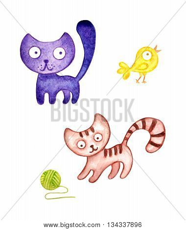 Two cute watercolor kitten and a bird in the hand-drawn style. Raster image isolated on white.