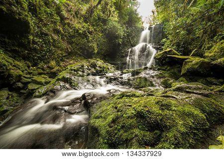Waterfall flowing through green mold rocks at Cerro Dantas national reserve in Costa Rica
