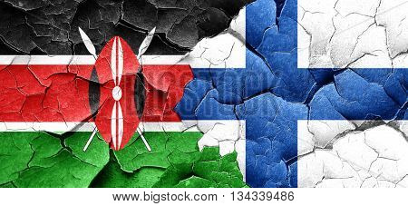 Kenya flag with Finland flag on a grunge cracked wall